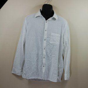 Johnston & Murphy Linen Button Down White Shirt